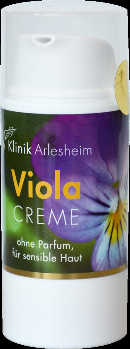 Eine Flasche Viola Creme ohne Parfum, für sensible Haut