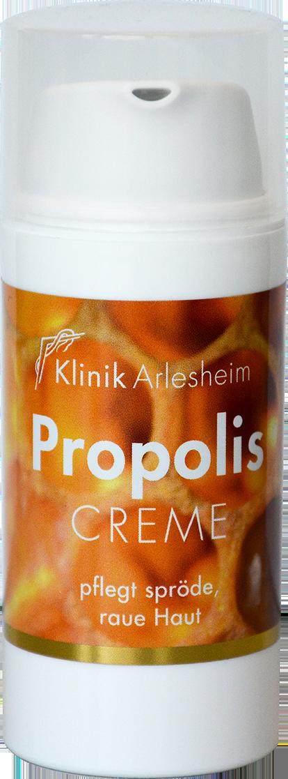 Eine Flasche Propolis Creme, die spröde und raue Haut pflegt