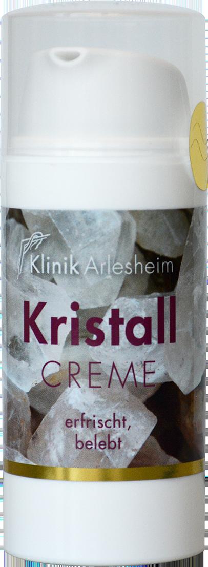 Eine Flasche Kristall Creme, die erfrischt und belebt