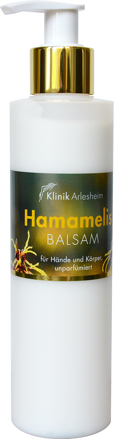 Eine Flasche Hamamelis Balsam für Hände und Körper