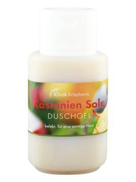 Eine Flasche Kastanien Sole Duschgel, die belebt und für eine samtige Haut sorgt
