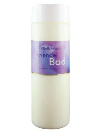 Eine Flasche Lavendel Bad, die entspannt und beruhigt