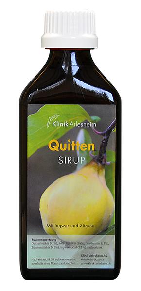 Eine Flasche Quitten Sirup mit Ingwer und Zitrone