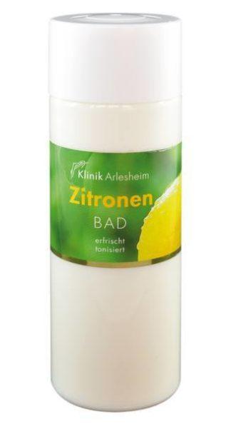 Eine Flasche Zitronen Bad, die erfrischt und tonisiert