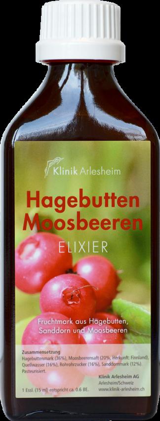 Eine Flasche Hagebutten Moosbeeren Elixier aus Fruchtmark von Hagebutten, Sanddorn und Moosbeeren