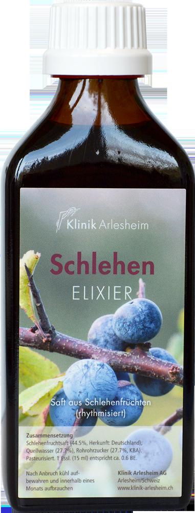 Eine Flasche Schlehen Elixier aus dem Saft von Schlehenfrüchten