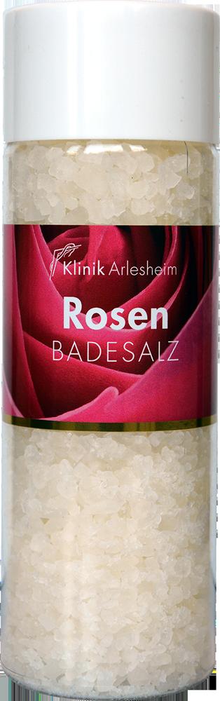 Eine Flasche Rosen Badesalz